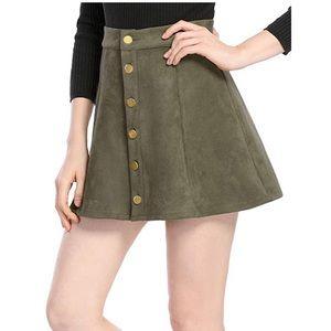 Allegra K M Green Faux Suede Skirt Button Up